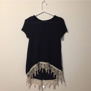 Tops - Black shirt with crochet detailing